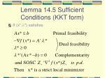lemma 14 5 sufficient conditions kkt form