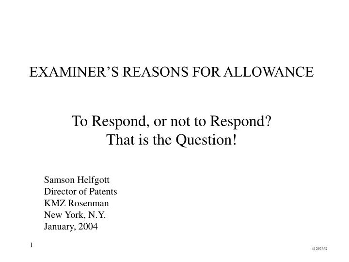 examiner s reasons for allowance