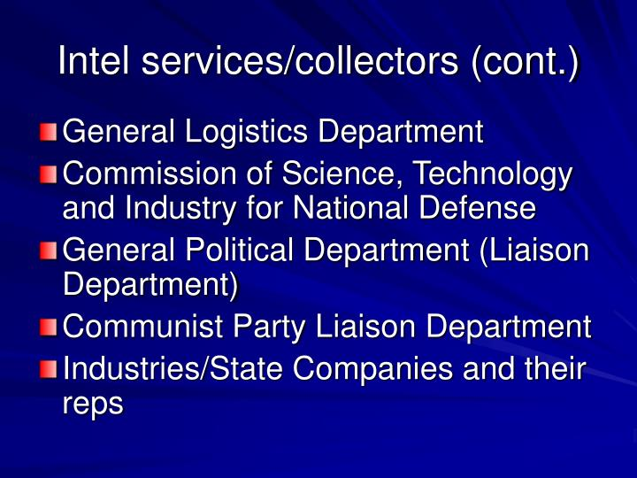 Intel services/collectors (cont.)