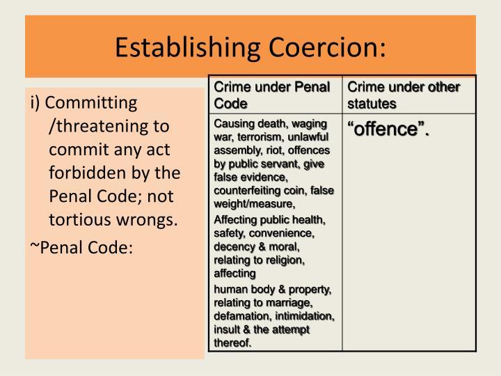 Establishing Coercion: