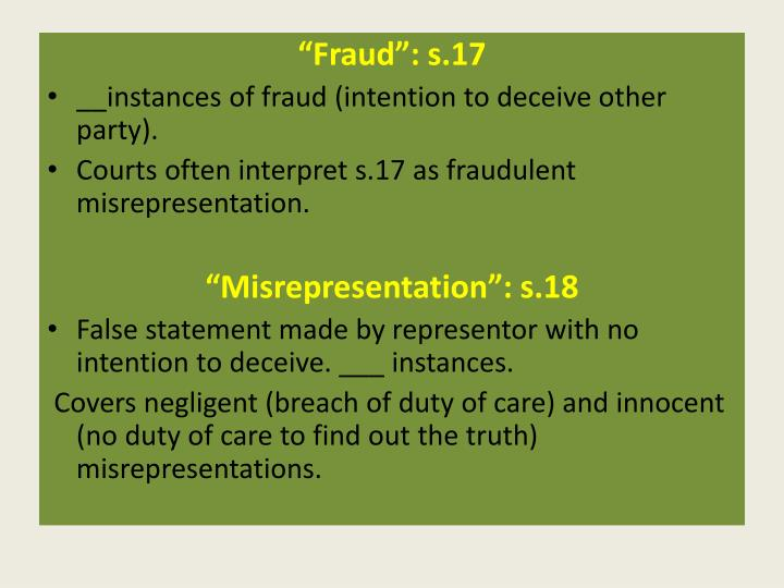 """Fraud"": s.17"
