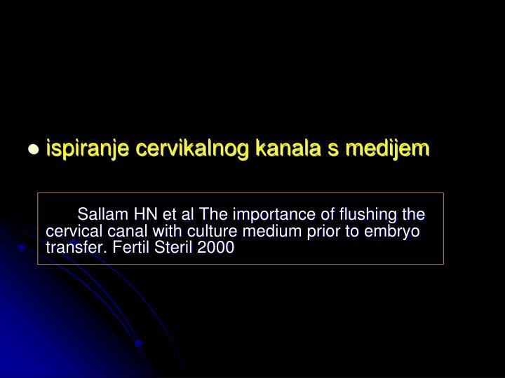 ispiranje cervikalnog kanala s medijem