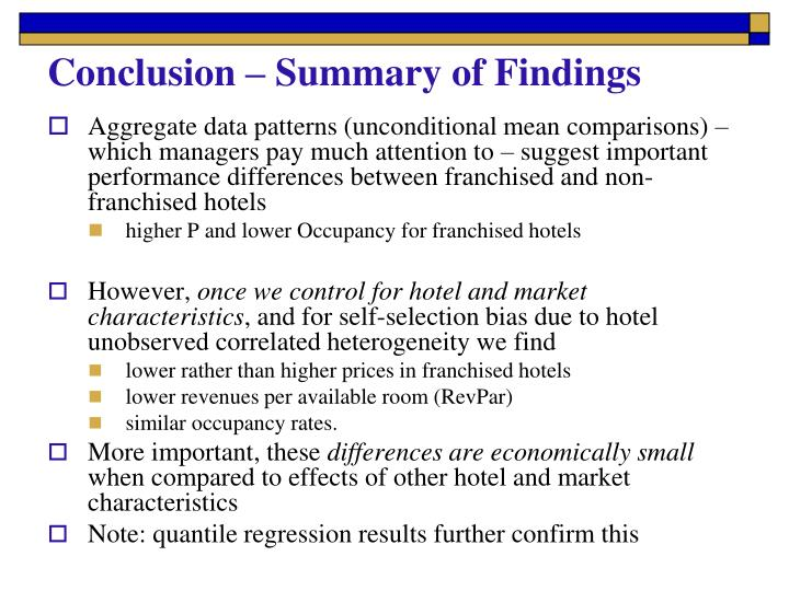 Conclusion – Summary of Findings