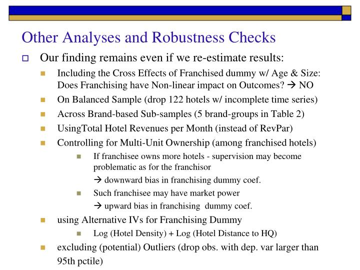 Other Analyses and Robustness Checks