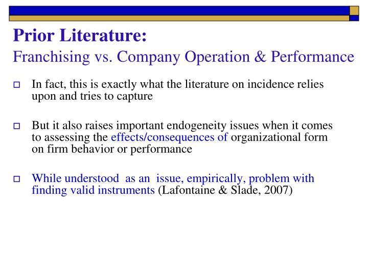 Prior Literature: