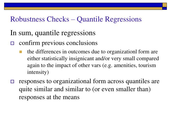 Robustness Checks – Quantile Regressions