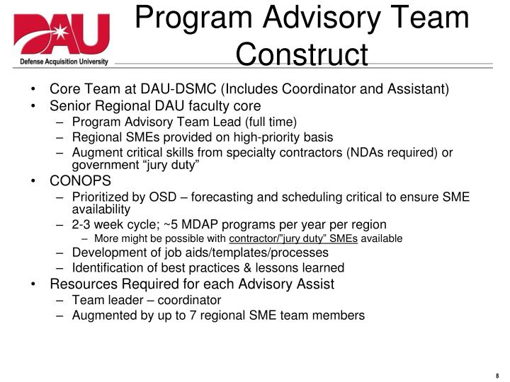 Program Advisory Team Construct
