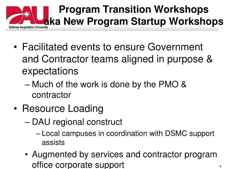 Program Transition Workshops