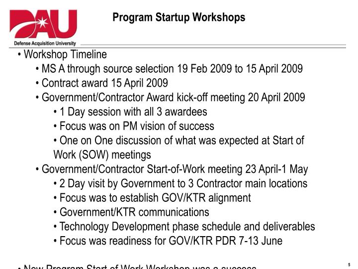 Program Startup Workshops