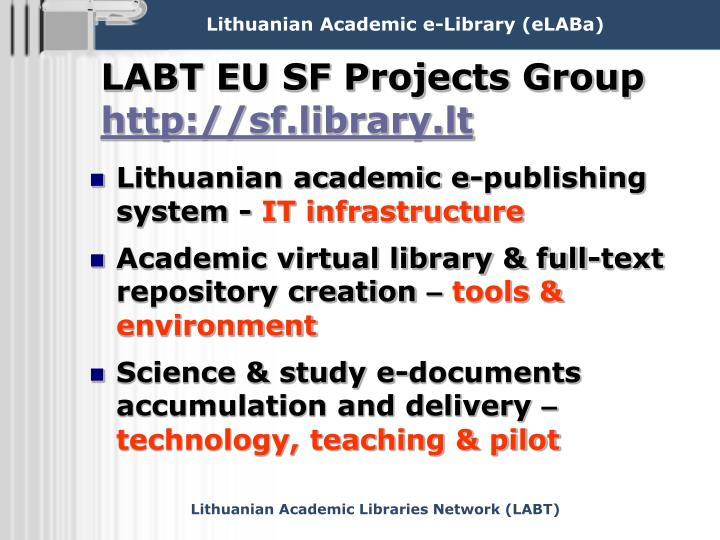 Labt eu sf projects group http sf library lt