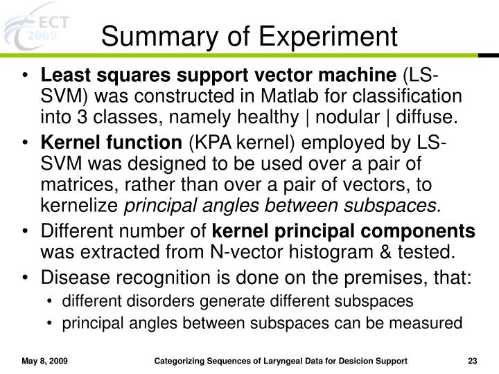 Summary of Experiment