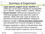 summary of experiment
