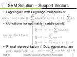 svm solution support vectors