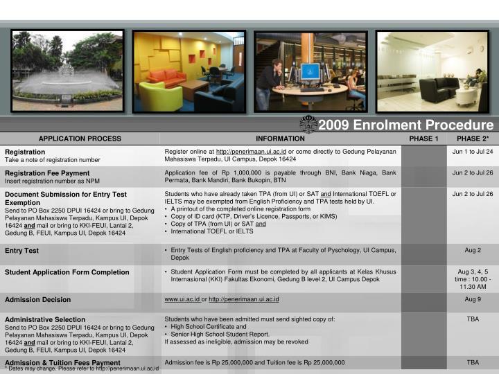 2009 Enrolment Procedure