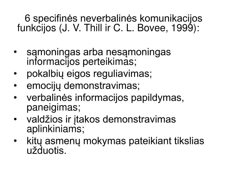 6 specifinės neverbalinės komunikacijos funkcijos (J. V. Thill ir C. L. Bovee, 1999):