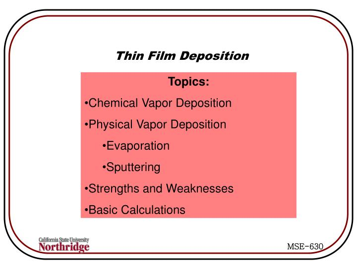 Thin Film Deposition