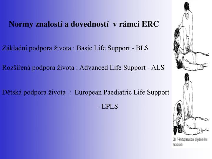 Normy znalostí a dovedností  v rámci ERC