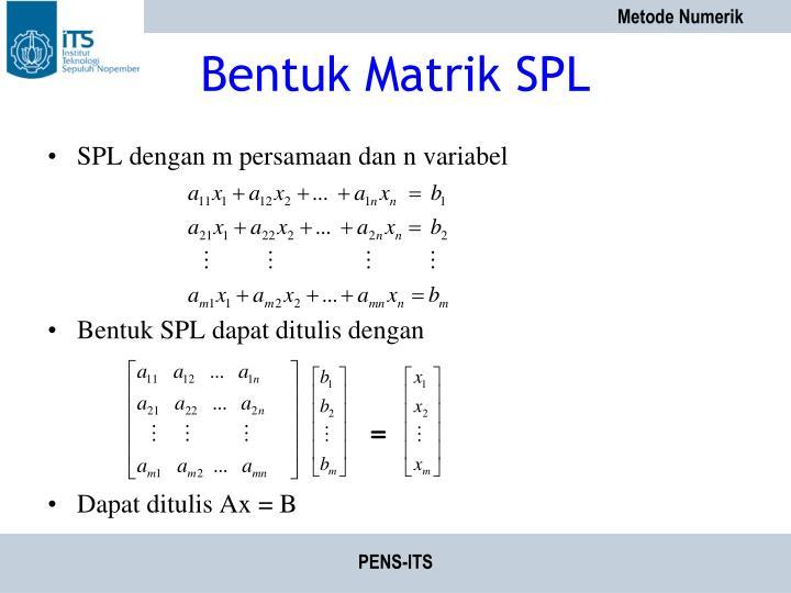 Bentuk Matrik SPL