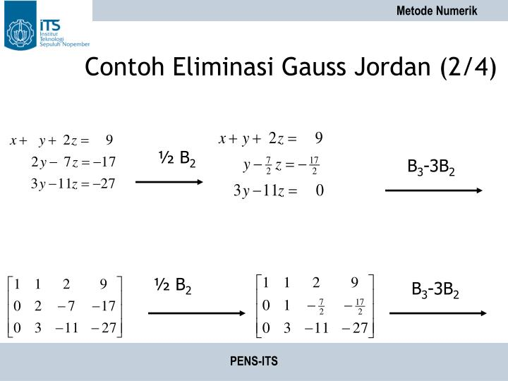 Contoh Eliminasi Gauss Jordan (2/4)