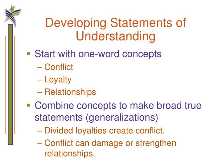 Developing Statements of Understanding