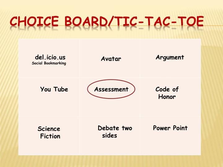 Choice Board/Tic-