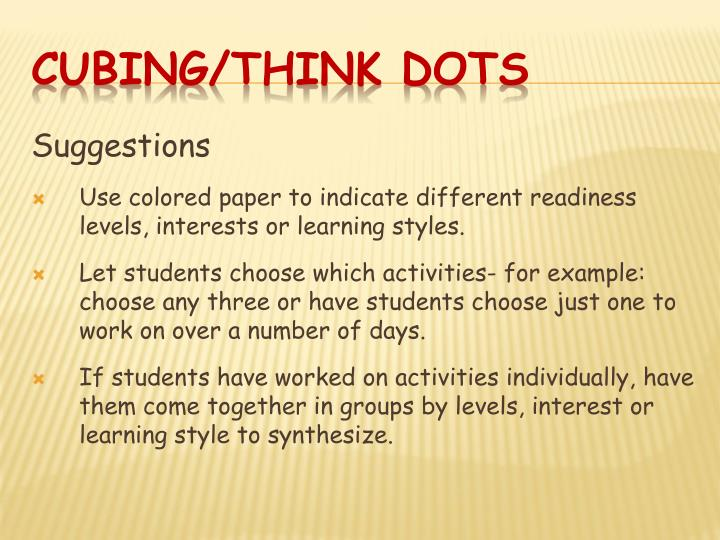 CUBING/THINK DOTS