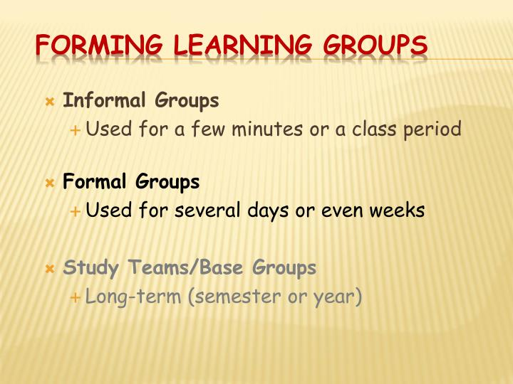 Forming Learning Groups