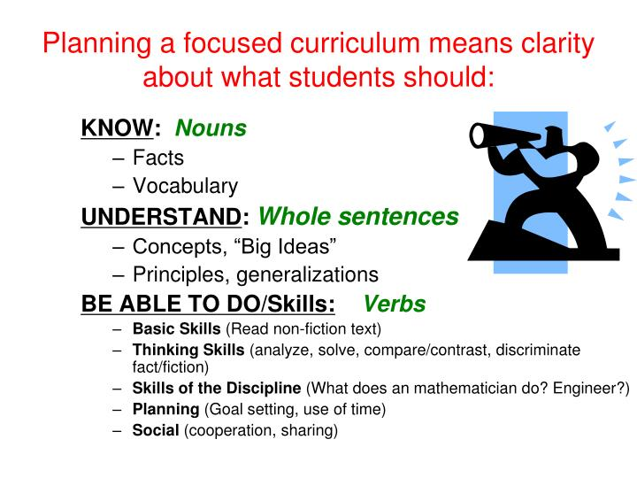 Planning a focused curriculum means clarity about what students should: