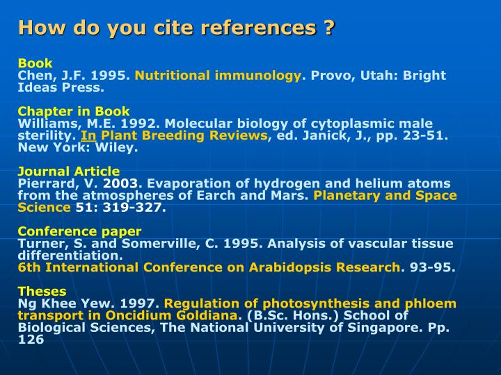 How do you cite references ?
