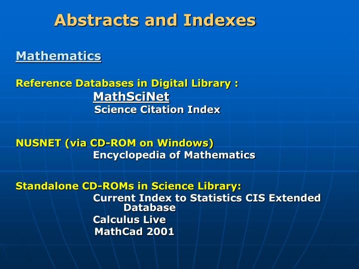 Abstracts and Indexes
