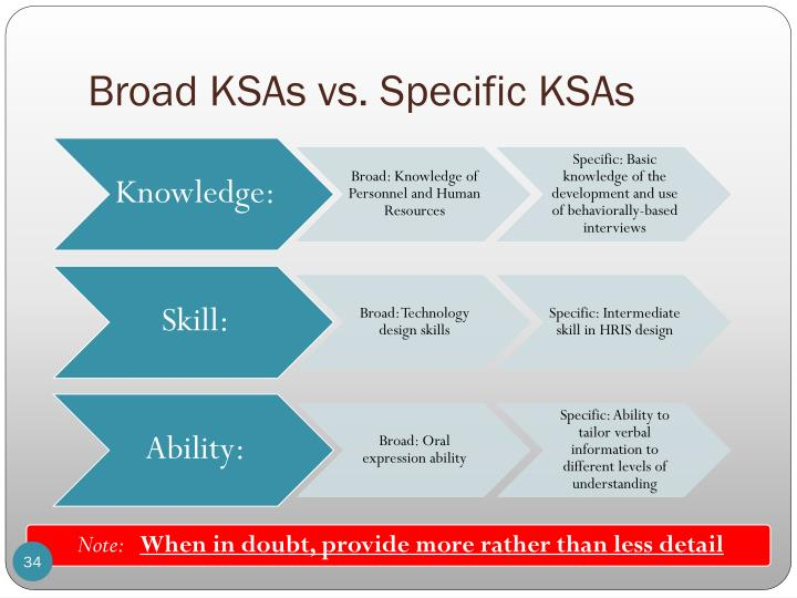 Broad KSAs vs. Specific KSAs