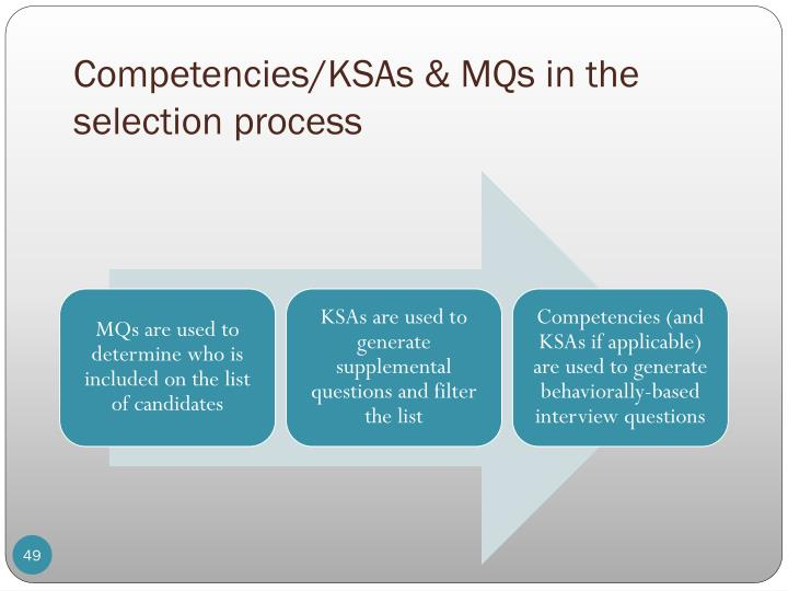Competencies/KSAs & MQs in the selection process
