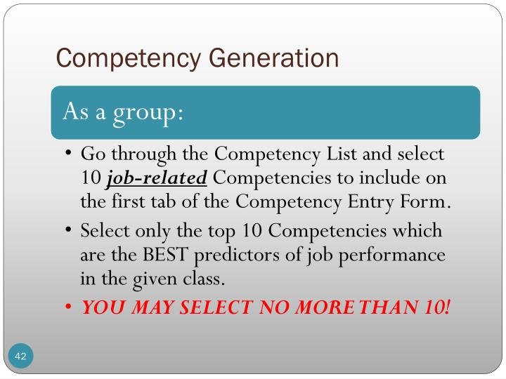 Competency Generation