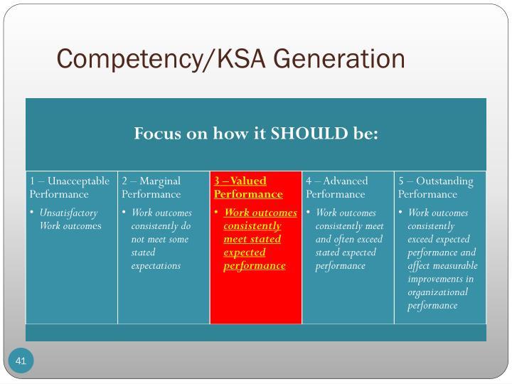 Competency/KSA Generation