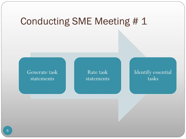Conducting SME Meeting # 1
