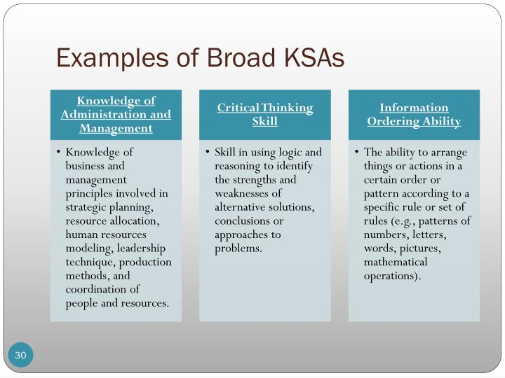 Examples of Broad KSAs