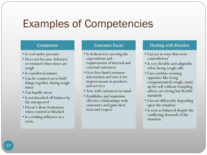 Examples of Competencies
