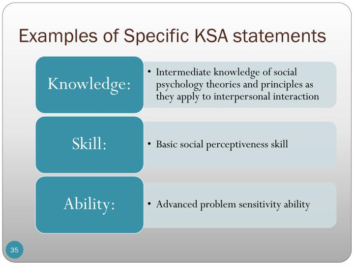 Examples of Specific KSA statements
