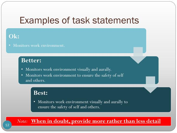Examples of task statements