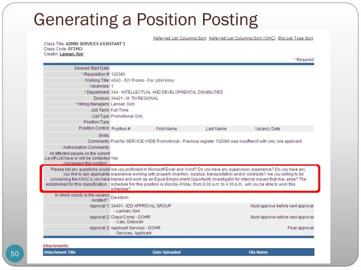 Generating a Position Posting