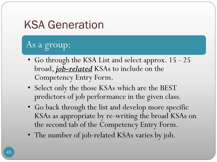KSA Generation