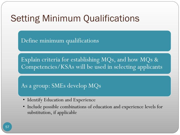 Setting Minimum Qualifications
