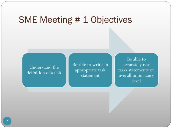 SME Meeting # 1 Objectives