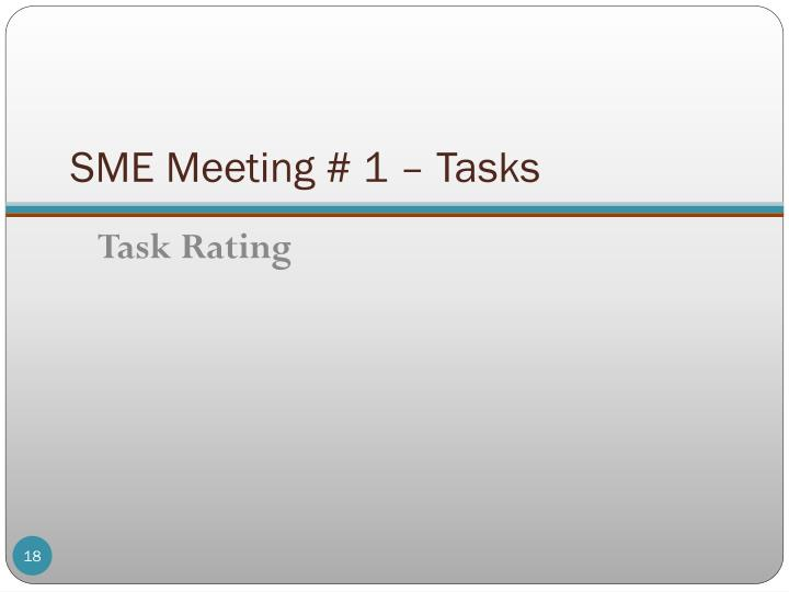 SME Meeting # 1 – Tasks