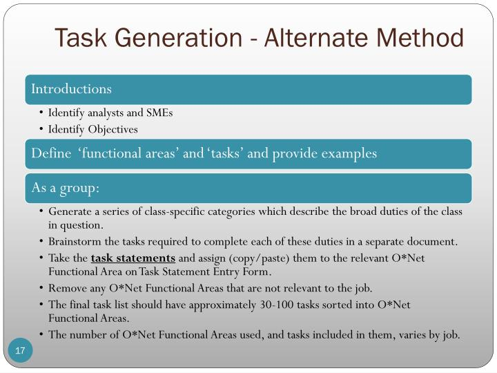 Task Generation - Alternate Method