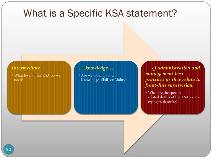 What is a Specific KSA statement?