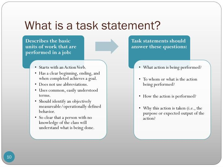 What is a task statement?