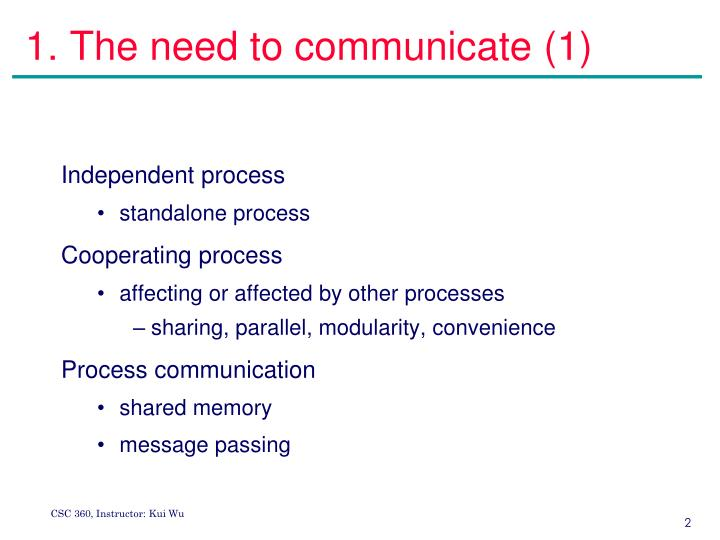 1. The need to communicate (1)