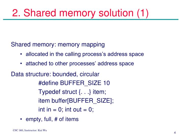 2. Shared memory solution (1)