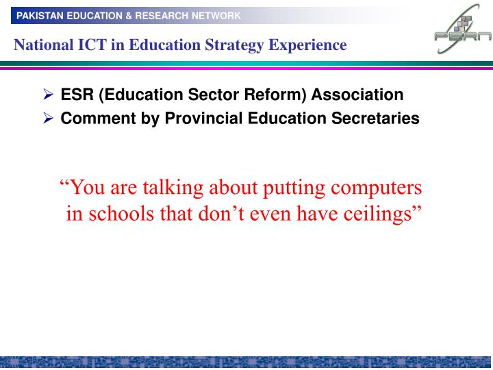 National ICT in Education Strategy Experience